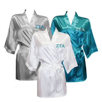 Zeta Tau Alpha Satin Robe, Zeta Tau Alpha Satin Robe, Sorority Letter Satin Robe, Greek Letters Apparel, Sorority Apparel, Greek Satin Robe