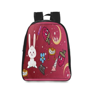 Funny Bunny Kid's Leather School Backpack (Black)