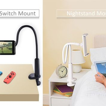 Tryone Gooseneck Nintendo Switch Mount Holder/ iPad Stand/ Cellphone Stand/ Tablet Mount Holder, Bolt Clamp with Bracket for Apple or Android Devices 4-10.6 Inches, 32 Inches Overall Length