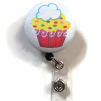 Fabric Covered Retractable Badge Reel Cupcake Keychain Lanyard