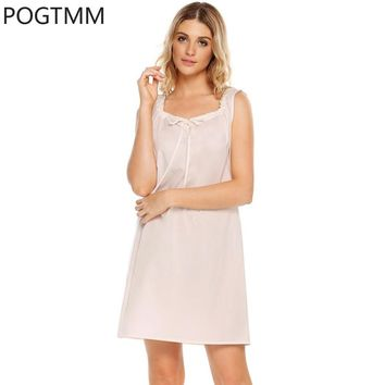 Plus Size Summer Nightgown Sexy Bow Decor Nightdress Cotton Nightshirt Sleeveless Sleepshirt Sleepdress Female Clothing XXL YP