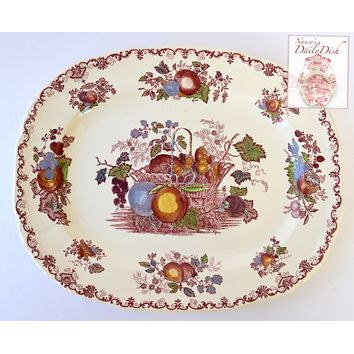Vintage English Transferware Red Colorful Platter Basket of Fruits & Foliage  Large Serving Tray Farmhouse Kitchen Decor