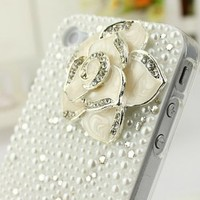 romefashion — elegant flower 3D Rhinestone pearl case for iphone 4/4s
