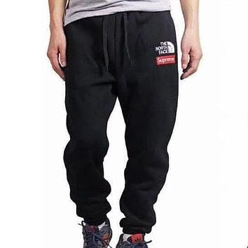 Supreme X The North Face Fashion Edgy Logo Embroidery Sport Casual Pants Trousers