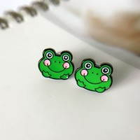 YeSmile Cute Japanese Cartoon Sweet Green Frog Stud Kids Animal Earrings Women Jewelry for Teenager Gifts