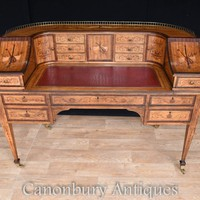 Canonbury - Antique Satinwood Regency Carlton House Desk Marquetry Inlay