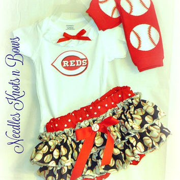 Girls Cincinnati Reds Baseball Outfit, Baby Girls Coming Home Outfit, Baby Shower Gift, Reds Outfit
