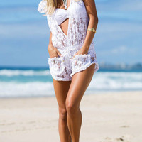 White Deep V Neck Lace Beach Romper With Drawstring