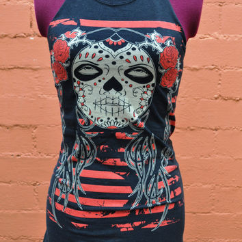 Day of the Dead Girl Print Women's Halter Tank Tunic by SewRed