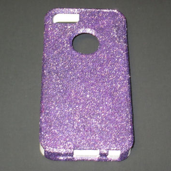 Custom Otterbox Glitter Iphone 5 Case  Purple/White by 14allcases