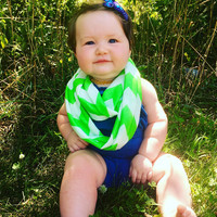 Neon Green Chevron Toddler Infinity Scarf