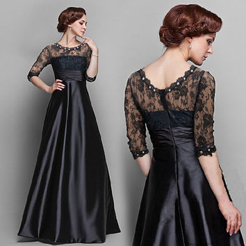 Lace Mosaic Diamonds Black Ball Gown Dress Prom Dress [4918232644]