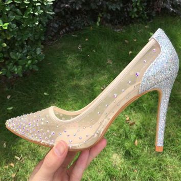 See Through Silver Bling Fashion Design Women's High Heel Pumps Summer Rhinestones Party Wedding Stiletto Thin Heels