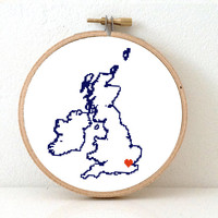 UK Map Cross Stitch Pattern. Easy Embroidery pattern to make United Kingdom map poster. Travel theme party. Heart for London