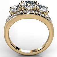 14k yellow gold three stone diamond engagement ring, bridal ring, wedding ring ER-1072-2