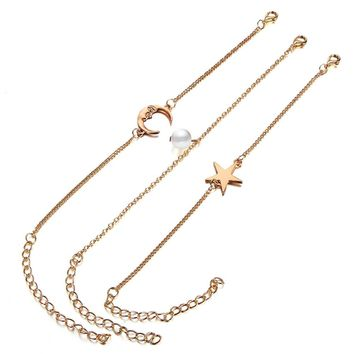 3pcs Women Bracelets Anklets Set Simple Stylish Chains of Pearl Star Moon Shape Bracklet & Anklet Jewelry Accessories
