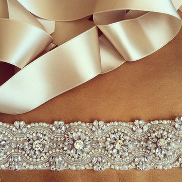 Women's Fashion Wedding Sash Belt Crystal Rhinestone Pearl Bridal Sash Wedding Belt Sash