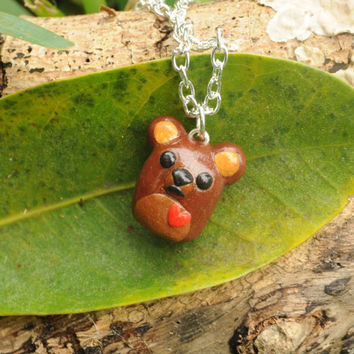 Chocolate Brownie Bear Polymer Clay Necklace