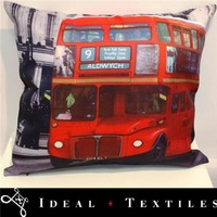 Cushion Cover London Red Bus Photograph