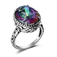 Fashion Rainbow Topazs Rings Genuine Sterling Silver Engagment Ring Fashion
