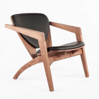 Olle Wood and Leather Lounge Chair
