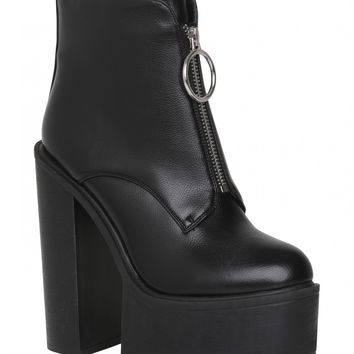 Freestyle Extreme Platform Ankle Boots With Ring Pull Detail In Black PU