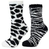 Furry Friends Set of 2 Animal Print Socks Sock Colors: White Giraffe - Black Zebra
