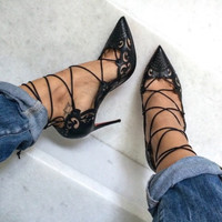 Bev Black Cut Out Lace Up Pumps