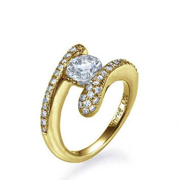 Yellow Gold Tension Set Round Engagement Ring Pave - 0.5ct Diamond