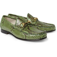 Gucci Horsebit Python Loafers | MR PORTER