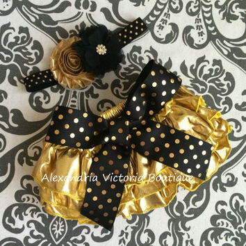 BLACK  and GOLD bloomer set, headband and chiffon ruffle diaper cover, black and gold polka dot set, shimery gold bloomers.