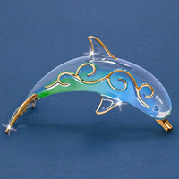 Paradise Dolphin Glass Figurine w/ Swarovski Elements and 22k Gold