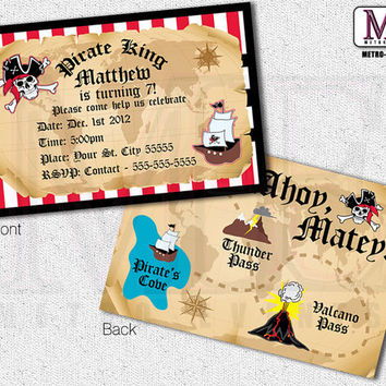 Pirate Invitations, Vintage Pirate Invitations, Pirate Invitations, Pirate Party Invitations, Printed Pirate Invitation, Invitations, Invite