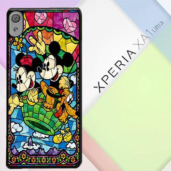 Mickey Minnie Mouse Pluto Disney Stained Glass L2191 Sony Xperia XA1 Ultra Case
