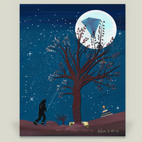 Blue Moon Kite Art Print by soulartist on BoomBoomPrints
