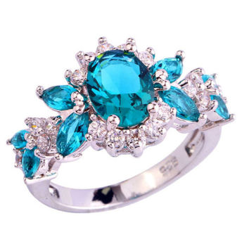 Royal Blue Green White Topaz Crystal Multistone Noble Sterling Silver Frienship Love Promise Ring