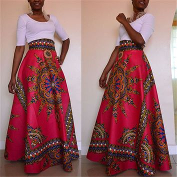 African Styling Colorful Maxi Skirt