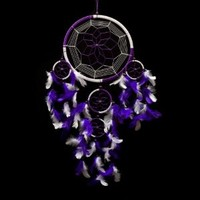 "Dream Catcher ~ Handmade Traditional Purple & White 8.5"" Diameter & 24"" Long!"