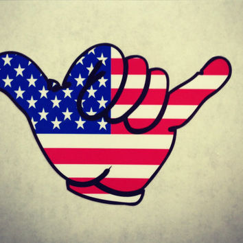 Hang Loose American Flag Sticker / Decal
