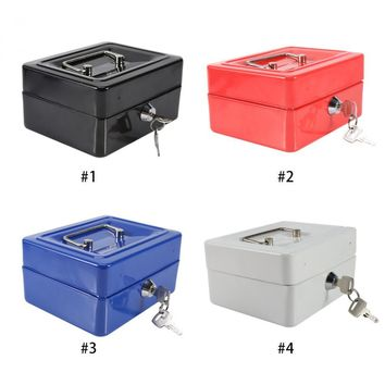 Home Organizador Mini Portable Steel Petty Lock Cash Safe Box For School Office Market With 2 Keys Lockable Coin Security Box