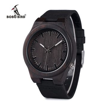 Bobo Bird WB12 Men's Asymmetric Design Ebony Wooden Watch with Soft Leather Band and Gift Box
