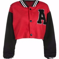 Cropped Red Varsity Jacket