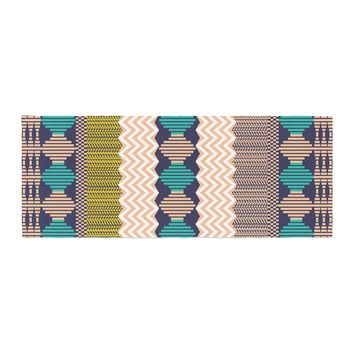 """Akwaflorell """"Knitted 3"""" Coral Teal Pattern Bed Runner"""