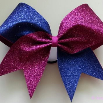 Royal blue and pink glitter cheer bow