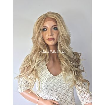 Blonde Waves Human Hair Blend Multi Parting Lace Front Wig - Maria
