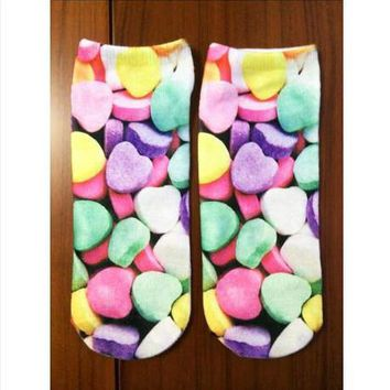 3D Socks! New! Novelty! Candy Hearts