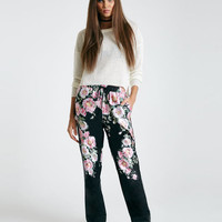 Silky Floral Print Pants | Wet Seal