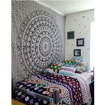 Wall Tapestry Elephant Printed Bohemian Rectangular Tapestry Wall Hanging Mandala Bedspread Shawl Ethnic Art ZQ879787