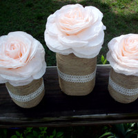 Rustic wedding mason jar set (3 pcs.) paper flower wedding decoration wedding accessories paper flower decoration wedding centerpiece