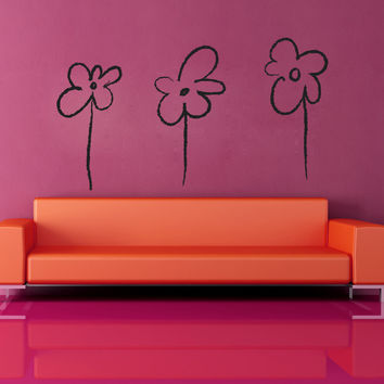 Vinyl Wall Decal Sticker Three Flowers #OS_MB948